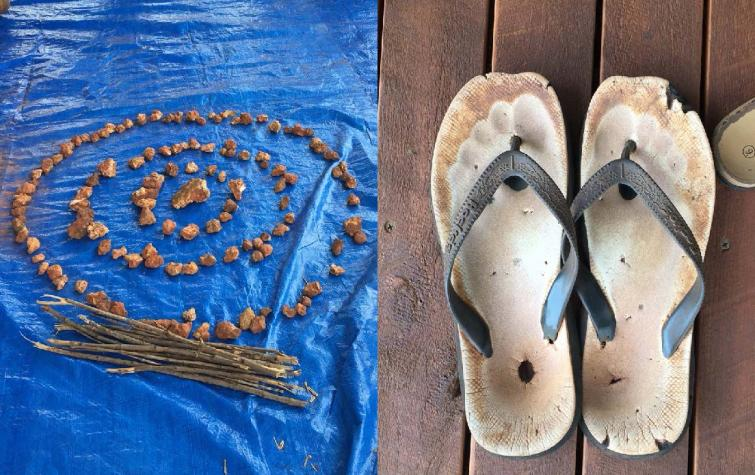 (left) Depiction made by community participants of their community, its relationships and capabilities. (right) Footwear of a Traditional Owner. This project has sought to understand the outlook and views of community members and to 'walk a mile in their