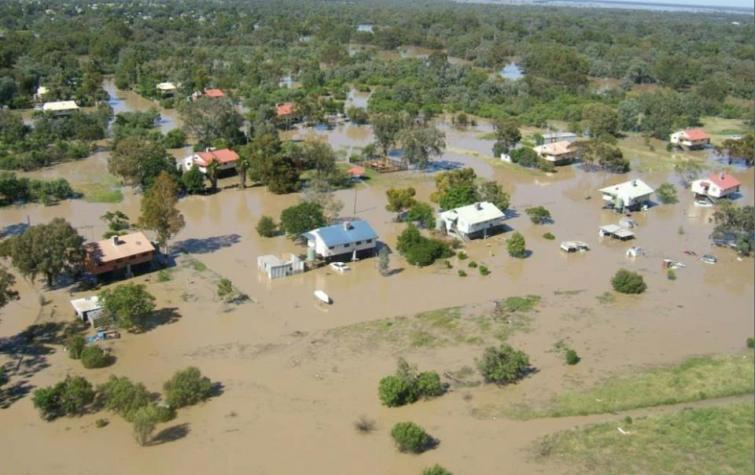 Areial view of flooding in NSW.