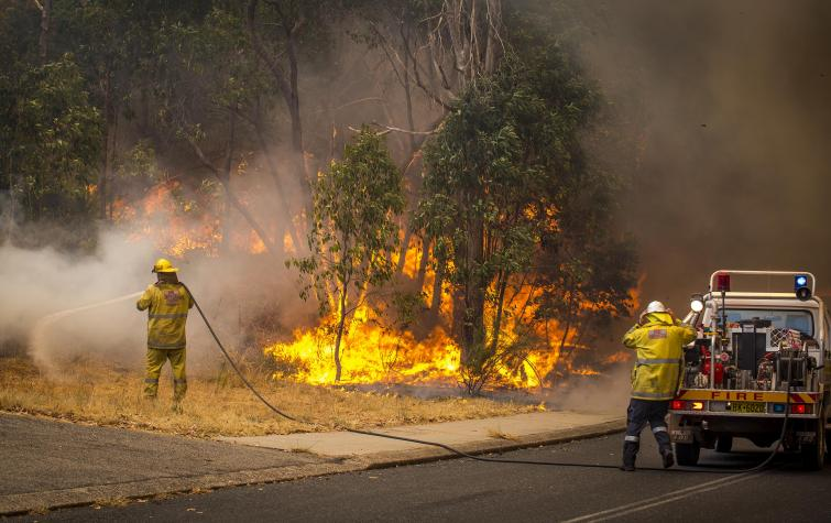 Firefighters battle the Parkerville bushfire. Photo by DFES