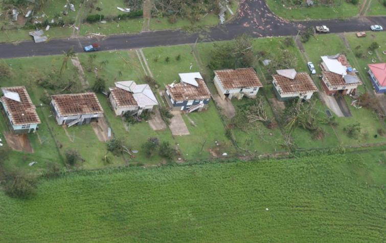 Damage to houses after a cyclone has past through in Queensland, 2009.