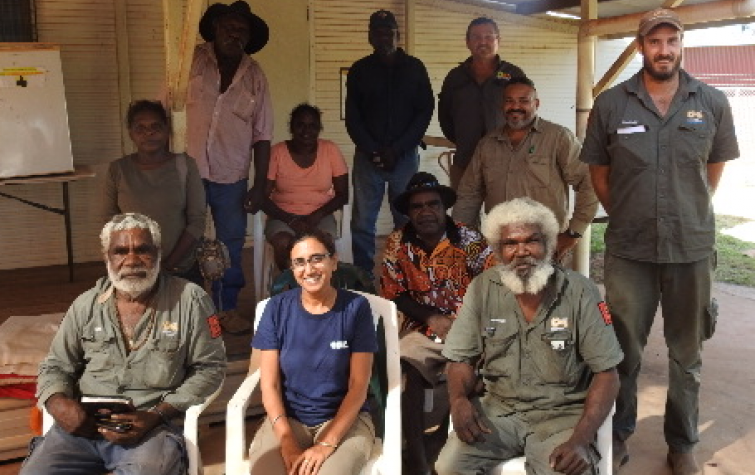 Researchers Dr Kamaljit Sangha and Dr Andrew Edwards and the Garawa & Waanyi Garawa Rangers, Borroloola, at the Scenario Planning workshop. Source: Charles Darwin University