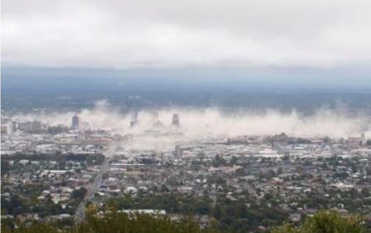 Dust clouds from the 2011 February Christchurch earthquake. Photo: Gillian Needham.