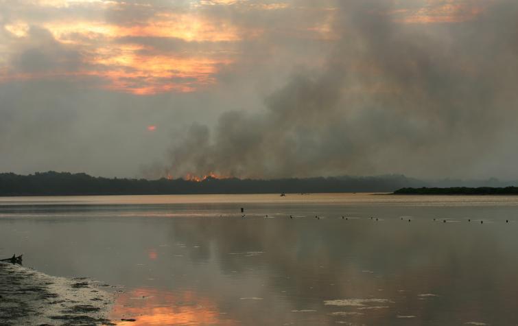 Smoke from bushfires on the horizon. Photo credit: Tasmania Fire Service.