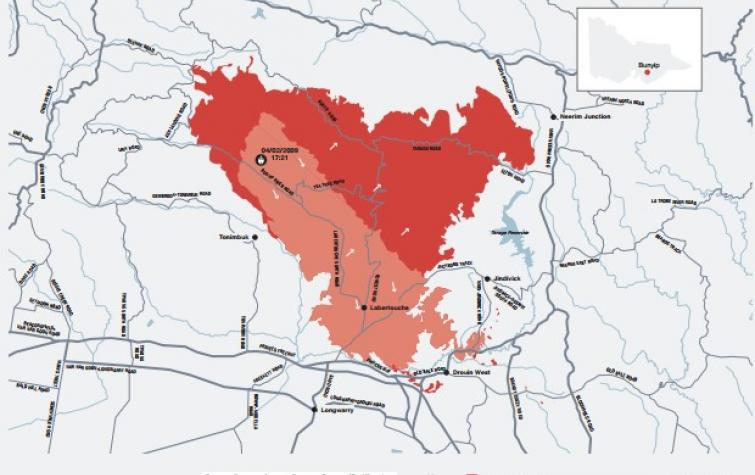 The extent of fires for Delburn. Photo: Black Saturday Royal Commission (2009)