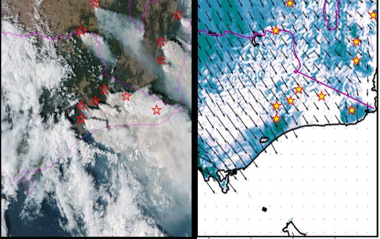 Himawari satellite image (left) during the afternoon of the most active moist pyro-convective day of the 2019/2020 season, 30 December 2019. The corresponding PFT flag forecast (right) shows the potential threat was well forecast. The fire locations are i