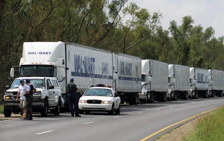 A convoy of WalMart trucks.