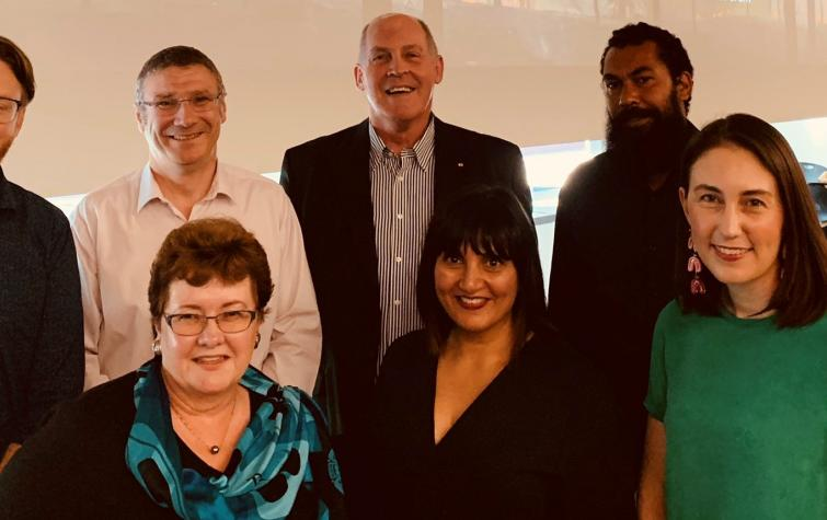 Panel at QUT forum: (back row) Dr Timothy Graham, Dr Richard Thornton, Major-General Richard Wilson, Leeton Lee, Prof Vivienne Tippet (front row) A/Prof Wendy Scaife, A/Prof Amisha Mehta, A/Prof Dominique Greer. Credit: IFE QUT