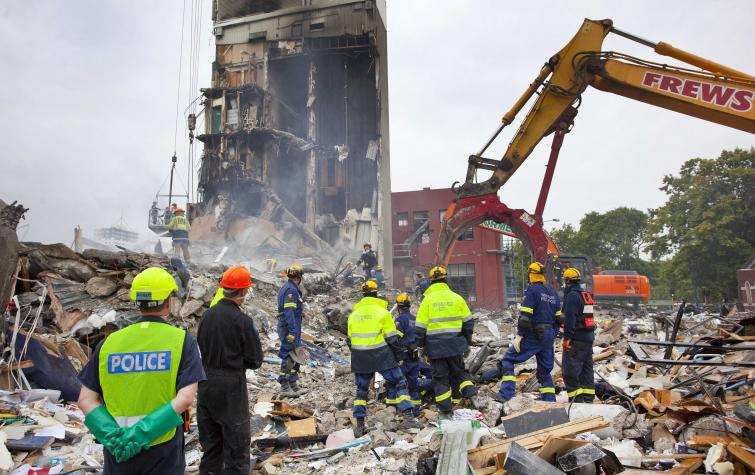 Fire and Emergency New Zealand after the 2011 Christchurch earthquake. Photo: John Moombe.