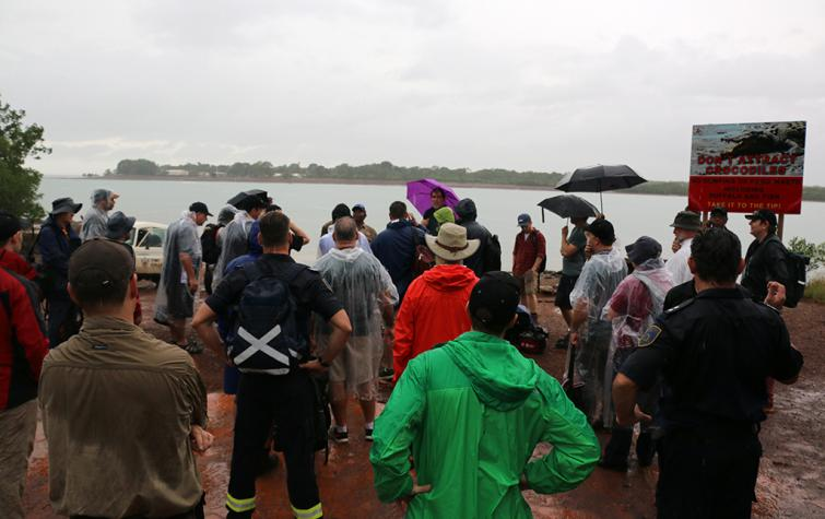 A wet day for the field trip to the Tiwi Islands for the Northern Australia Fire Managers Forum.