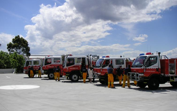 Fire trucks outside the New South Wales Rural Fire Service headquarters. Photo: NSW RFS