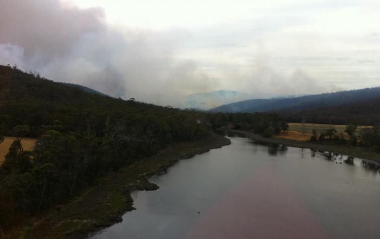 A bushfire in the Tasman Peninsula in 2013. Photo: Wayne Rigg, Country Fire Authority, Vic