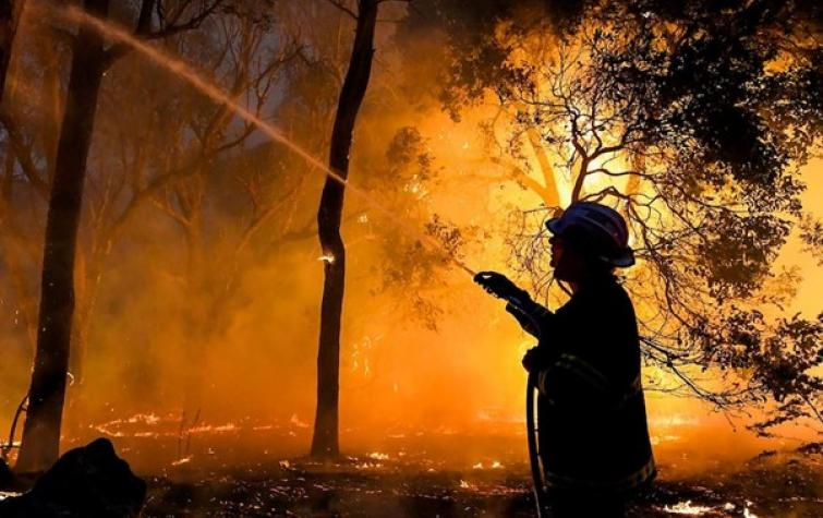 Firefighter at scene of Yanchep blaze, 2019. Photo: Morten Boe, DFES WA