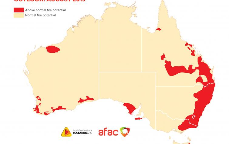 Vast areas of Australia, particularly the east coast, have an above-normal fire potential this season.