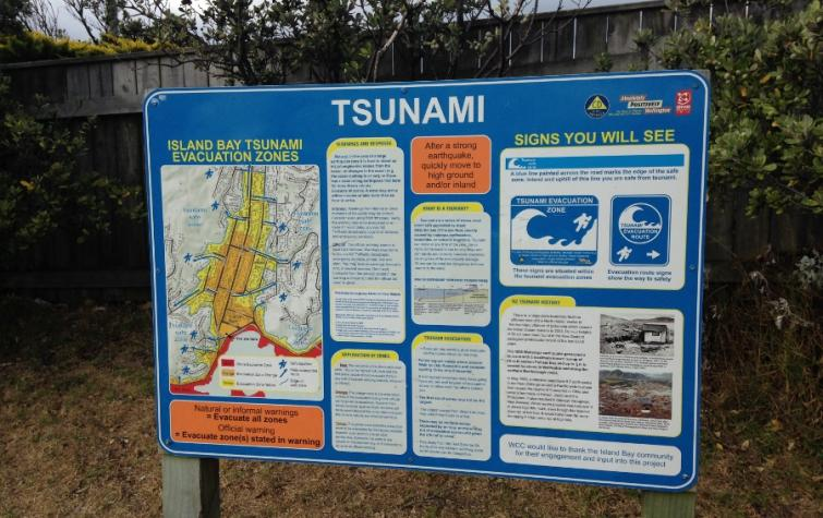 Tsunami evacuation sign in Wellington New Zealand. Photo: Emma Singh