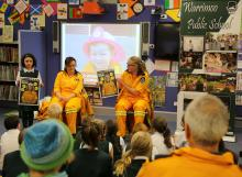 RFS personnel using the new guide at Warrimoo Public School. Photo Ben Shepherd, NSW RFS