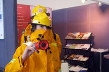 Children at bushfire stand at the Australian Science Festival