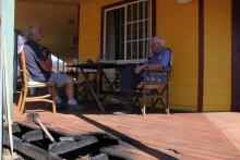 Interviewing residents after the 2013 Coonabarabran fire. Photo: Brydie O'Connor NSW RFS