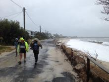 Locals brave the elements during April's east coast low at Jimmy's Beach, NSW. Photo by NSW SES.
