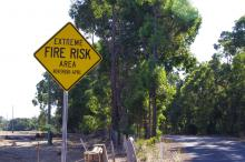 Fire risk sign near Margaret River.