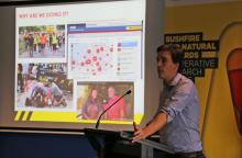 Josh Whittaker discussing research progress at the Sydney RAF.