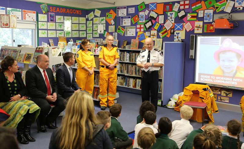NSW Rural Fire Service Commissioner Shane Ftizsimmons launches the Guide to Working with School Communities at Warrimoo Public School in the Blue Mountains. Photo: Ben Shepherd, NSW Rural Fire Service