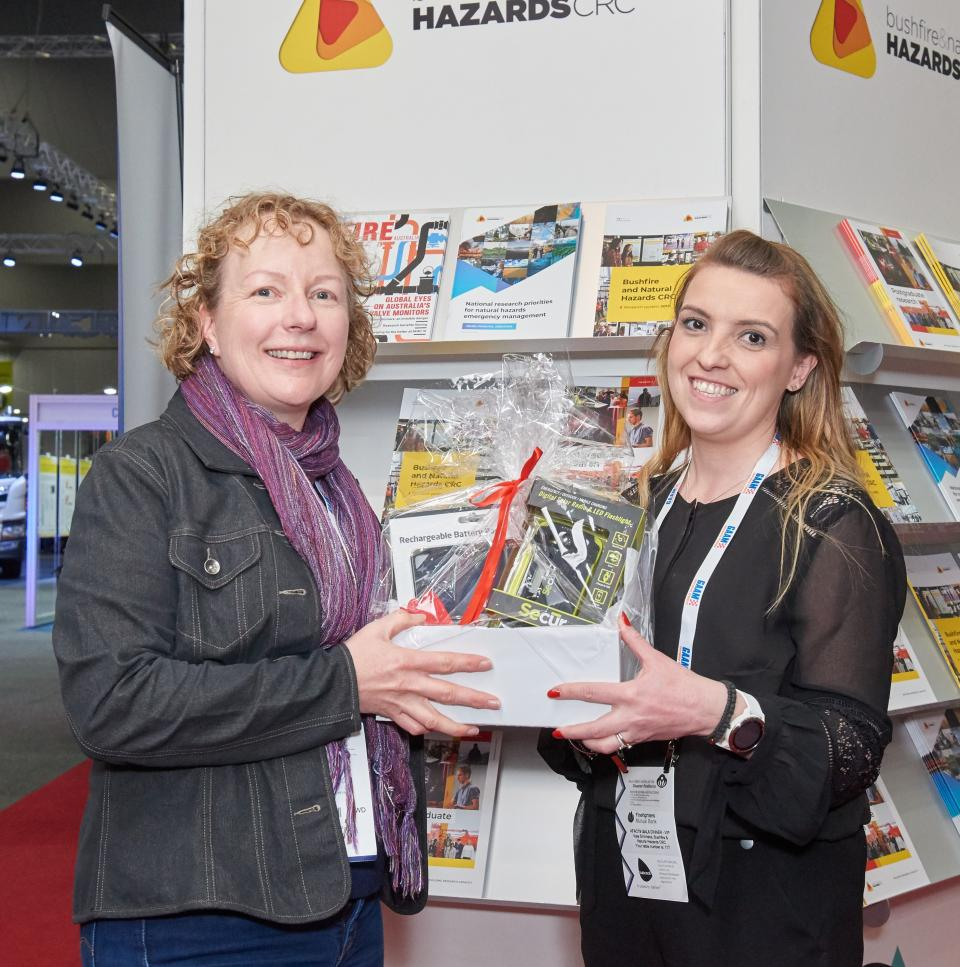 Mariska Threadgold (left) from the South Australian Country Fire Service was the lucky winner of the prize draw.