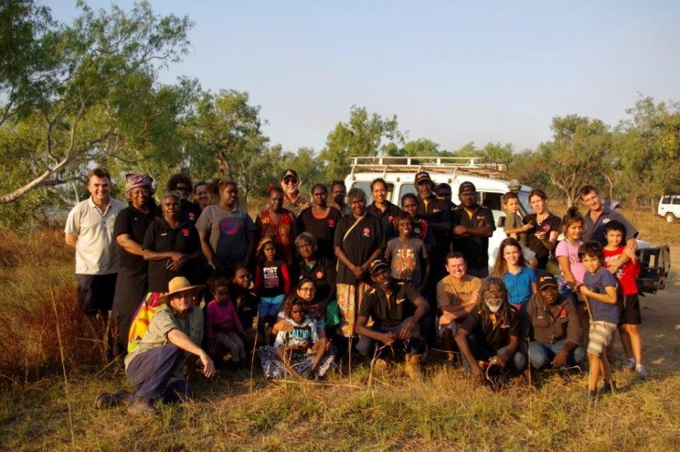 Workshop participants by the Yarriowarda billabong at Ngukurr.