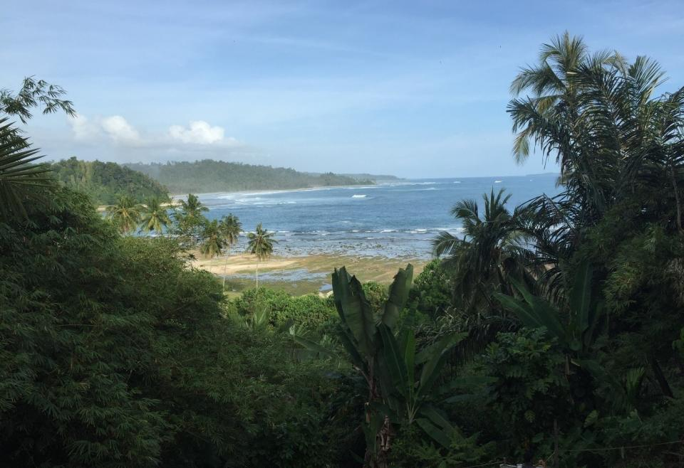 A bay on the west coast of Simeulue where seismic uplift has pushed the shore out 100m or so.