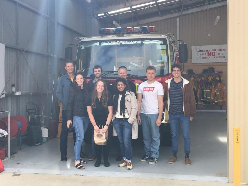 Bushfire and Natural Hazards CRC staff at the Lancefield CFA station. From left to right: Matthew Hayne, Amy Mulder, Nathan Maddock, Kelsey Tarabini, Desiree Beekharry, Greg Christopher, David Boxshall and Gabriel Zito