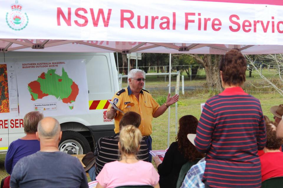 The Seasonal Bushfire Outlook being presented at a NSW Rural Fire Service community meeting. Photo: NSW Rural Fire Service.