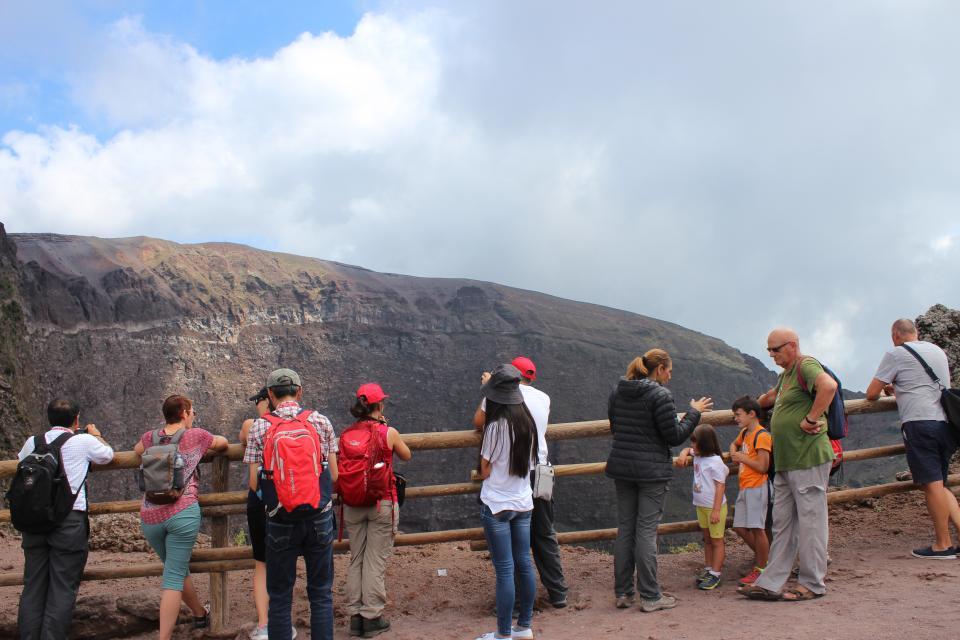 Delegates discussing volcanic risk at the crater of Mount Vesuvius. Photo: Emma Singh