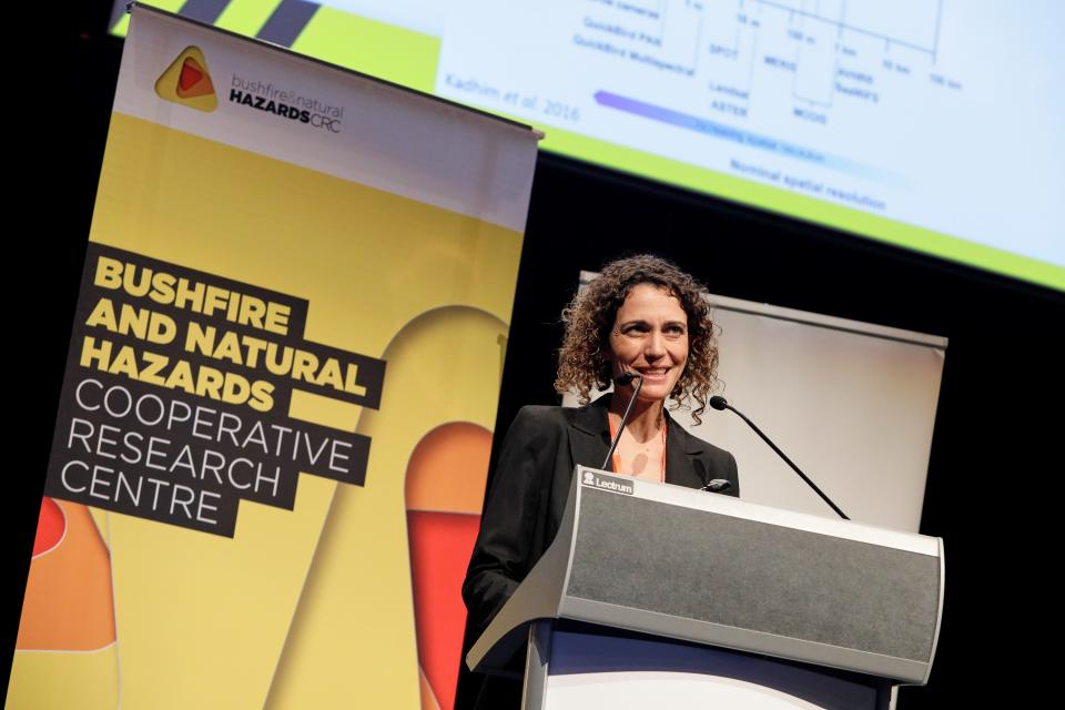 Dr Marta Yebra presenting her fire science in Perth.