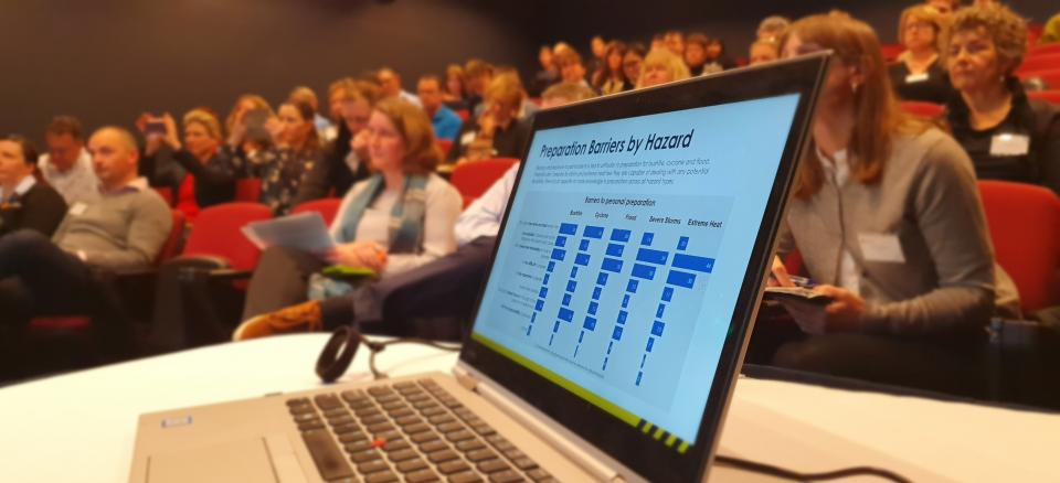 People listen to research presentations at the Communications, Community Engagement and Education RAF in Hobart
