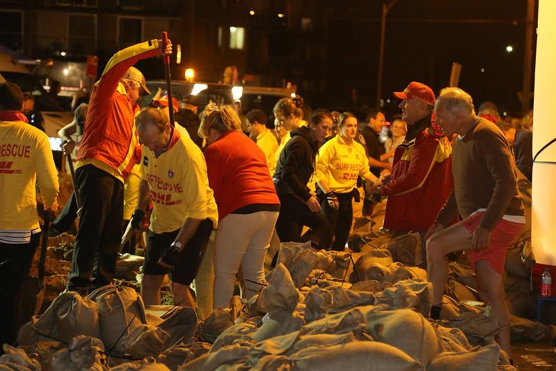 Residents, community members and emergency services sand bagging at Collaroy 2016. Photo: NSW RFS