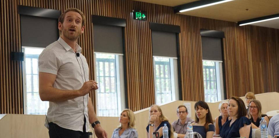 Mitchell Scovell presenting his 3MT on the curly tails of cyclone protection. Photo: ABC North Queensland.