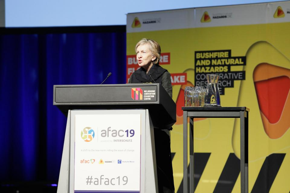 Prof Mary O'Kane delivering the 2019 Dr Laurie Hammond Oration at AFAC19, Melbourne