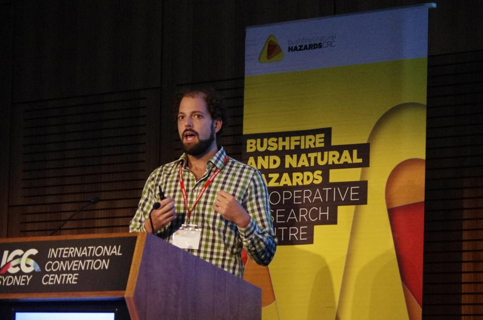 Dr James Furlaud presenting at the International Association of Wildland Fire's Fire Behaviour and Fuels conference in 2019.