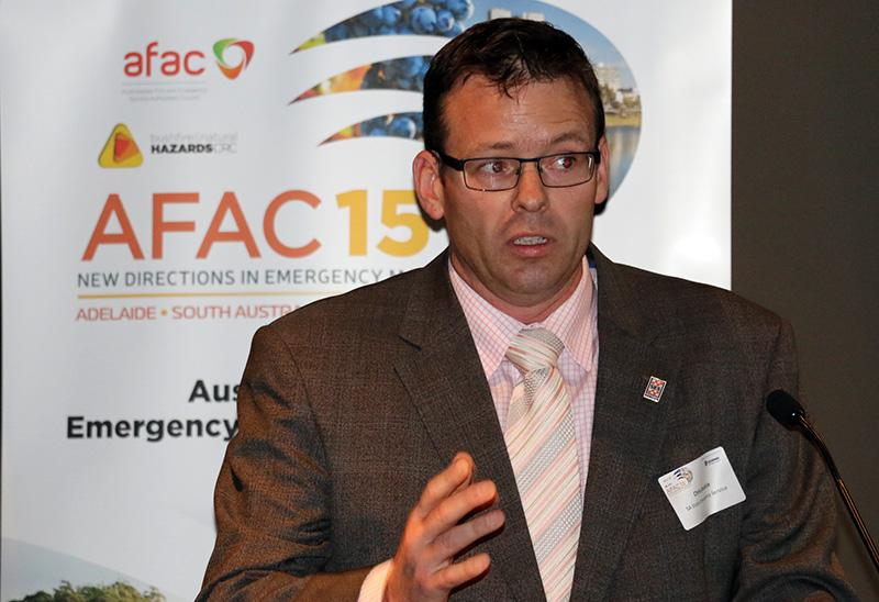 Chair of the AFAC15 conference committee Chris Beattie (SA SES) launches the 2015 program
