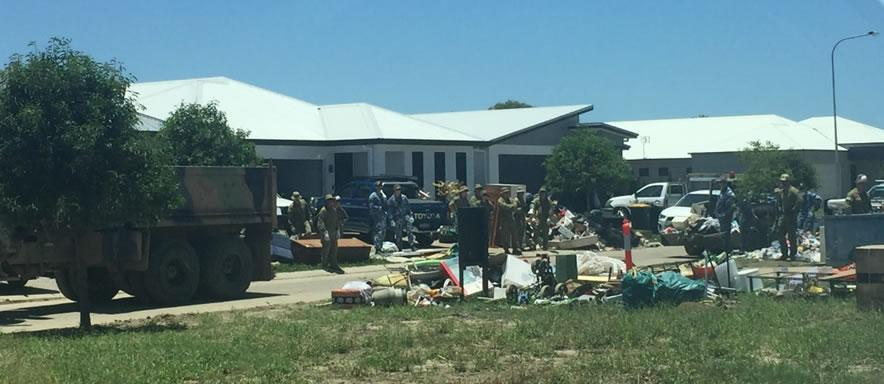 Australian Defence Force members assist with the clean-up of a newly developed Townsville Estate. Photo: Risk Frontiers