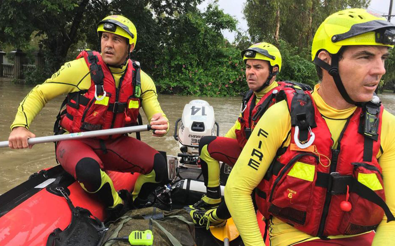 QFES during a flood.