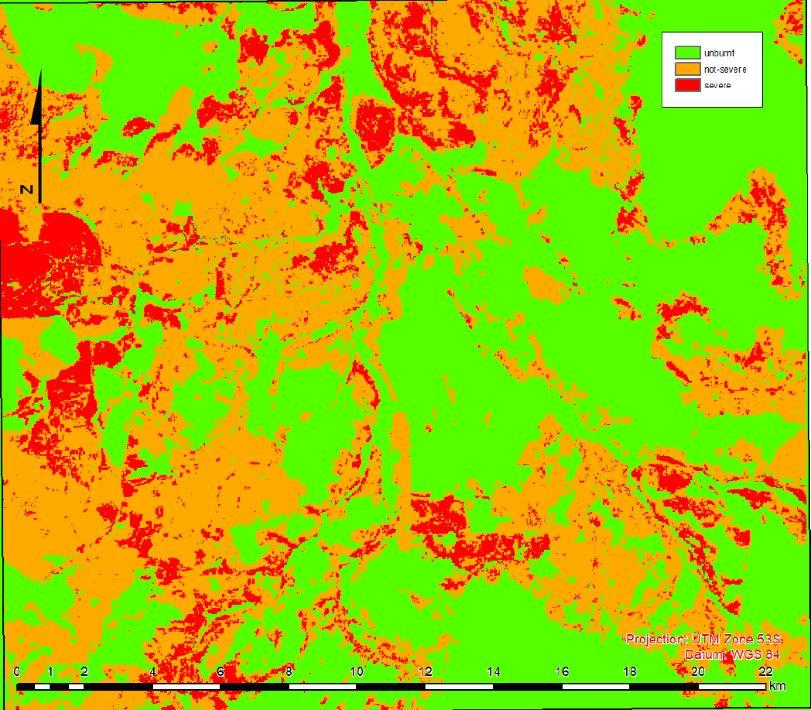 Mapping of fire severity in Kakadu National Park, Northern Territory.