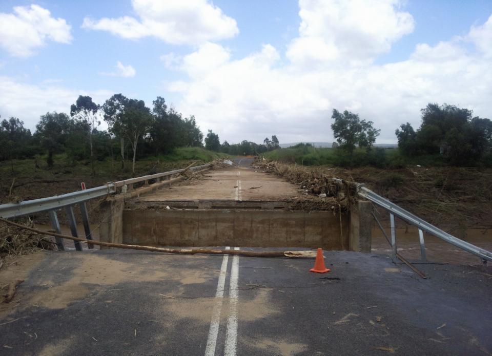 Flood damaged bridge.