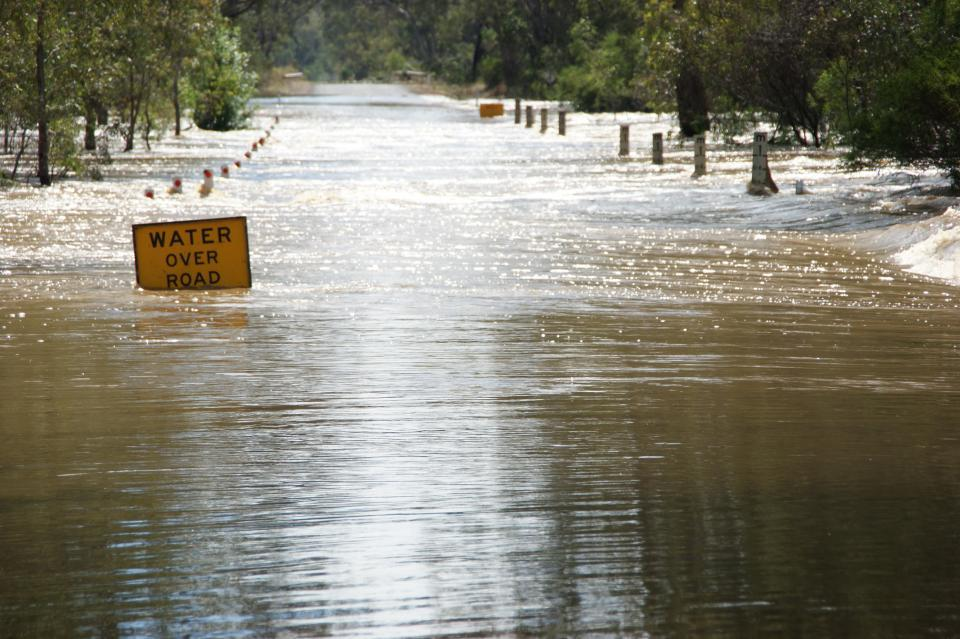 Floodwater across a road. Photo: CFA