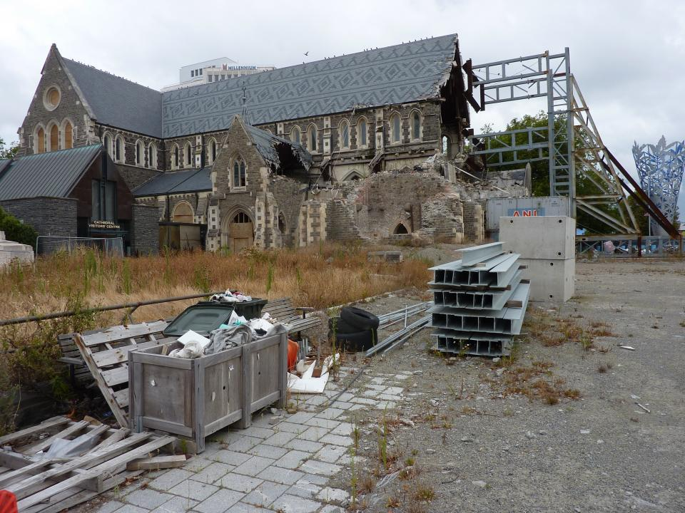 Earthquake damage caused by the 2011 Christchrurch earthquake.