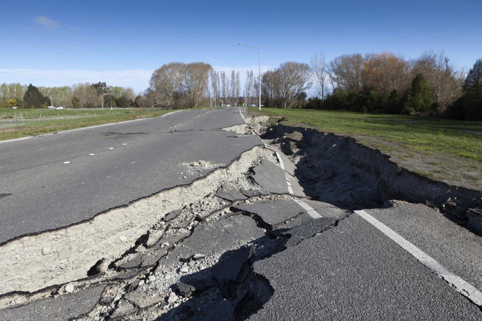 Earthquake damaged road.