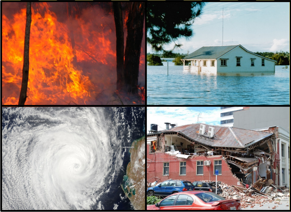 Clockwise from top left: Bushfire, photo by bertknot; Floods in Gympie, photo by Brian Yap; Christchurch earthquake, photo by Geof Wilson; Tropical cyclone Bianca, photo by NASA.