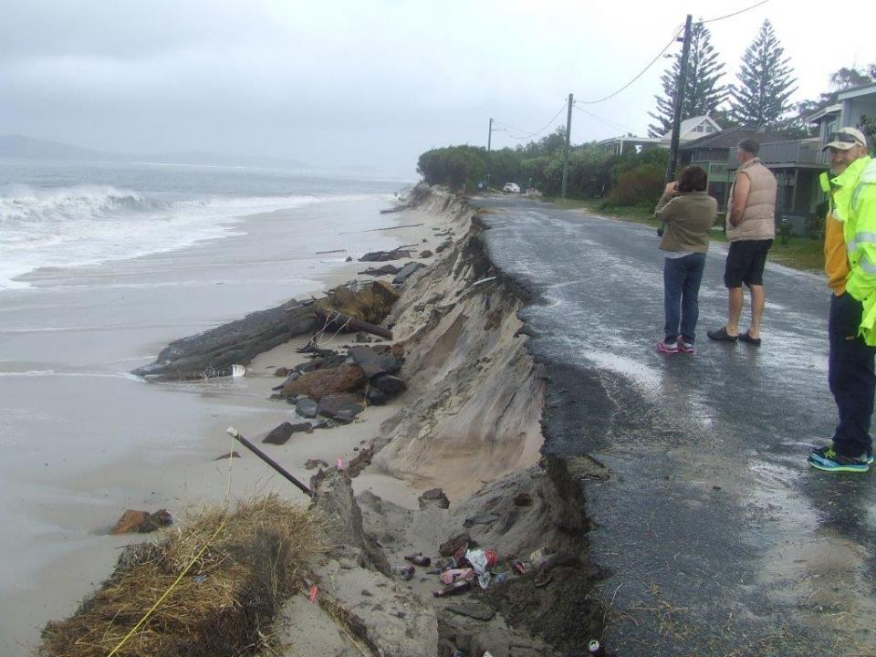 Coastal erosion from a storm surge.