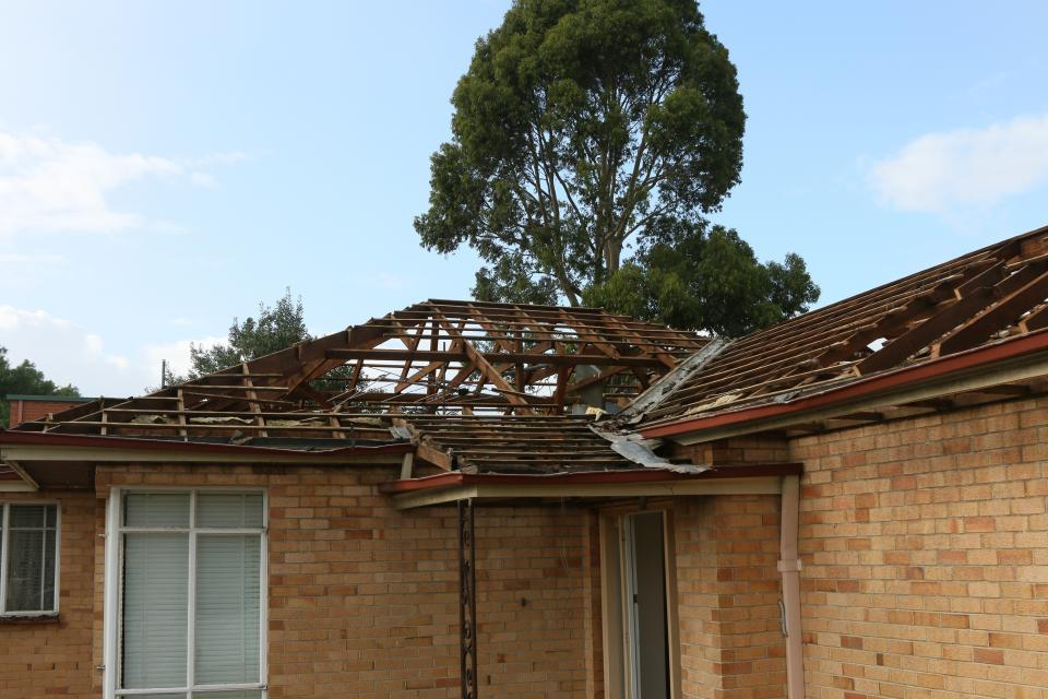 Roof of a building damaged by a severe wind event. Photo: James Cook University Cyclone Testing Station.