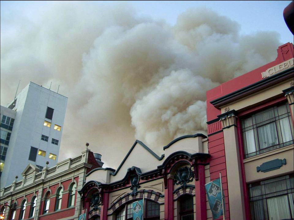 Fire in central Hobart. Photo credit: Richard Bugg.