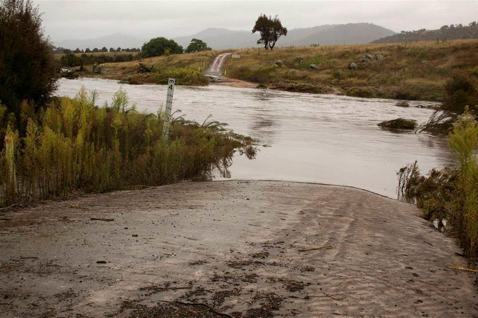 Flooded river crossing in NSW. Photo credit: John Lafferty.